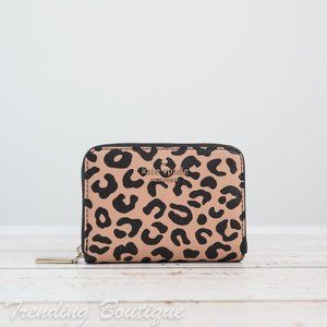 NWT Kate Spade Darcy Leopard Small Zip Card Case